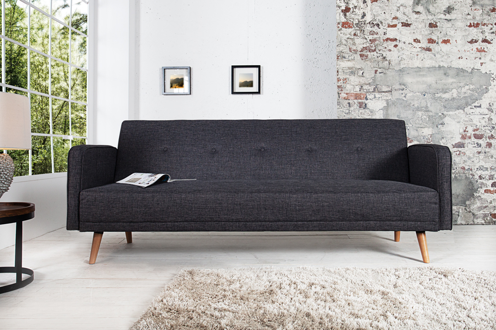 design schlafsofa scandinavia anthrazit mit hochwertigem aufbau in 210cm riess. Black Bedroom Furniture Sets. Home Design Ideas