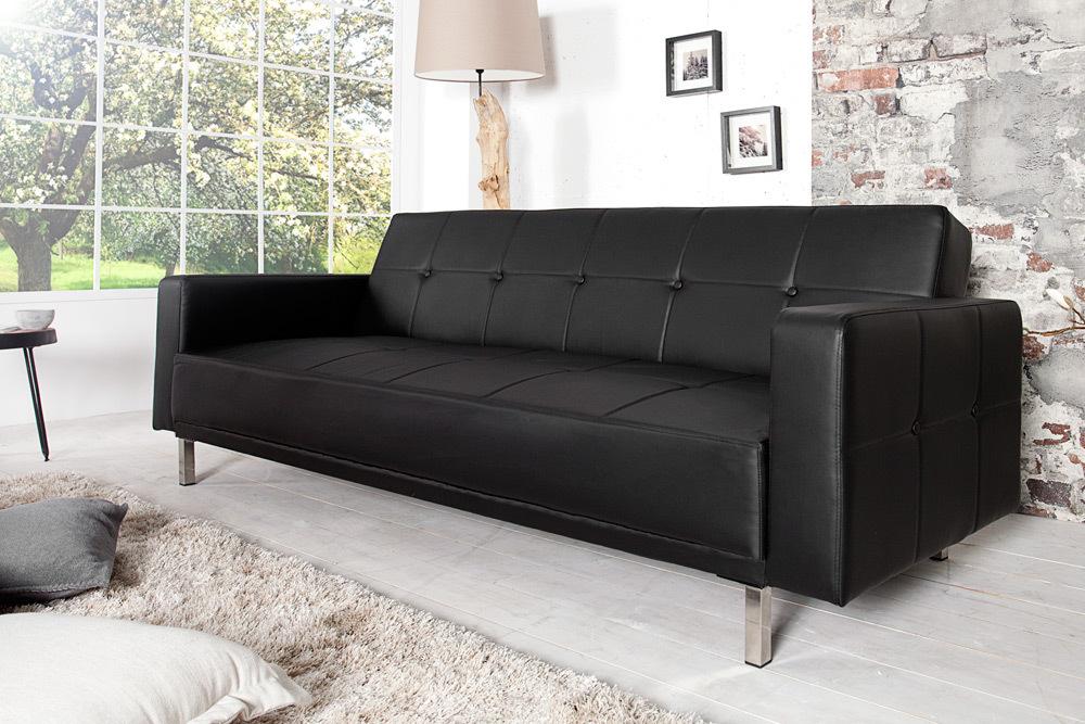 Design Schlafsofa MANHATTAN schwarz mit hochwertigem Aufbau in 215cm ...