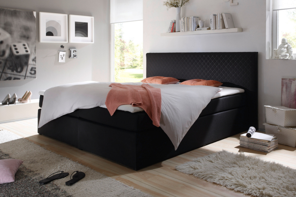 edles boxspringbett apartment anthrazit 140x200 cm mit steppung am kopfteil riess ambiente. Black Bedroom Furniture Sets. Home Design Ideas