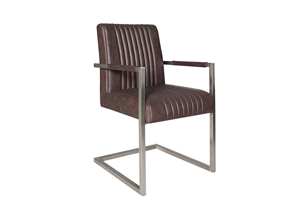 echt edelstahl freischwinger stuhl big aston dark coffee mit hohem sitzpolsteraufbau armlehne. Black Bedroom Furniture Sets. Home Design Ideas