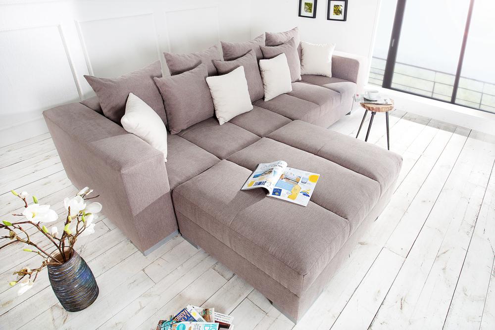 Design XXL Sofa BIG SOFA ISLAND Soft Baumwolle greige inkl ...