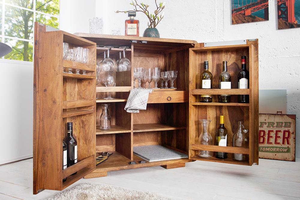 exklusiver barschrank cube 100cm hoch sheesham palisander holz stone finish 2 t rig riess. Black Bedroom Furniture Sets. Home Design Ideas