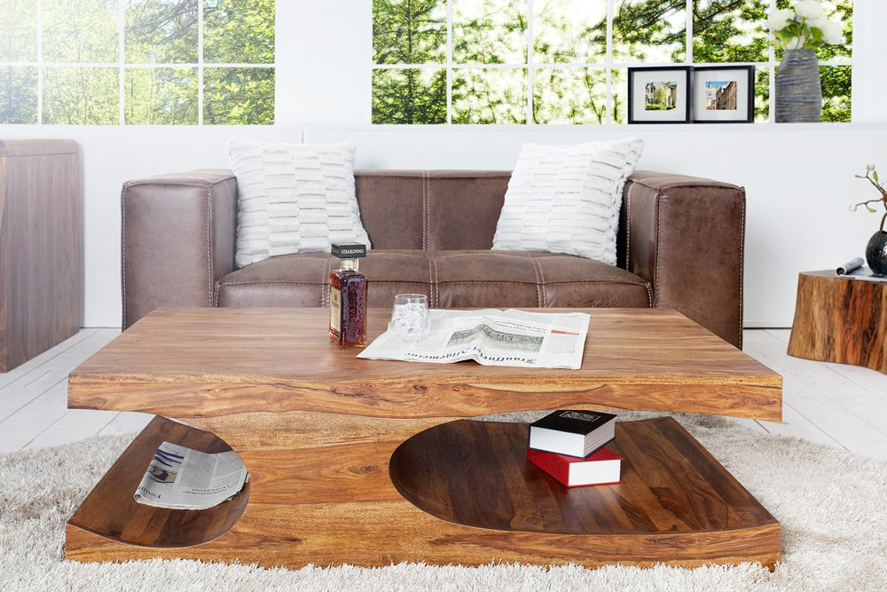 Edler Couchtisch CUBUS 120cm Sheesham Palisander Holz Stone Finish |  Riess-Ambiente.de