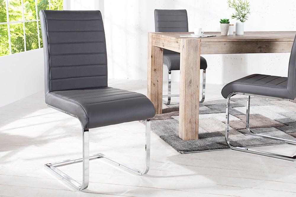 Design freischwinger stuhl stuart grau flachstahl riess for Designer stuhl grau