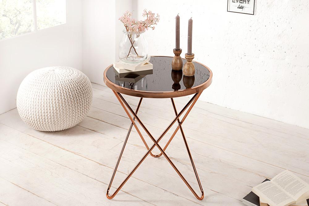 stylischer design beistelltisch orbit 55cm kupfer schwarz riess. Black Bedroom Furniture Sets. Home Design Ideas