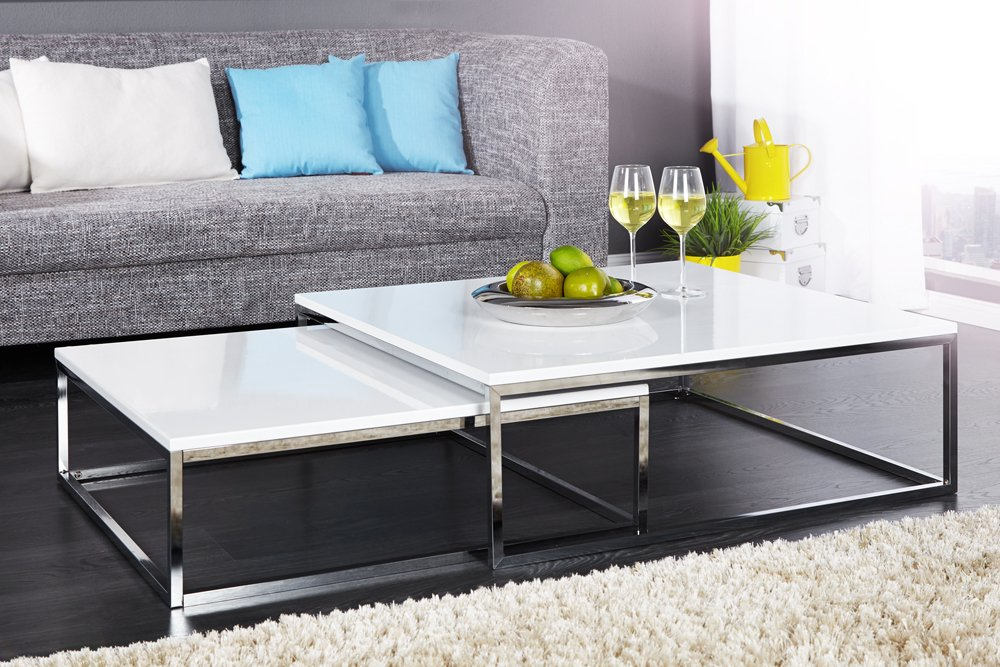 Design couchtisch 2er set big fusion hochglanz wei chrom for Design couchtisch district