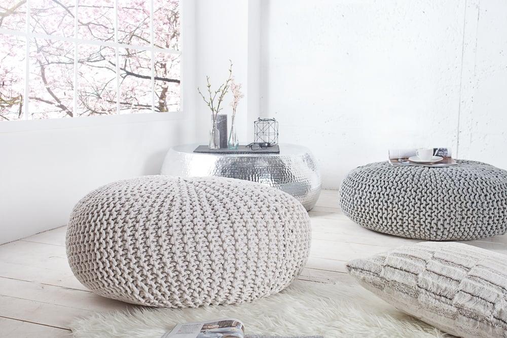 Design Strick Pouf LEEDS XXL 70cm weiß Baumwolle handgearbeitetes ...