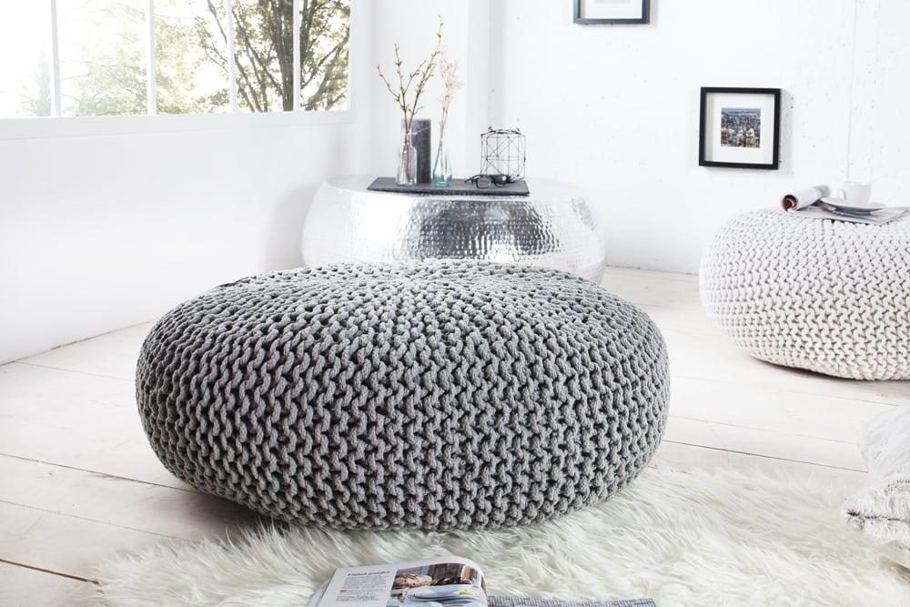 Design Strick Pouf LEEDS XXL 70cm grau Baumwolle handgearbeitetes ...