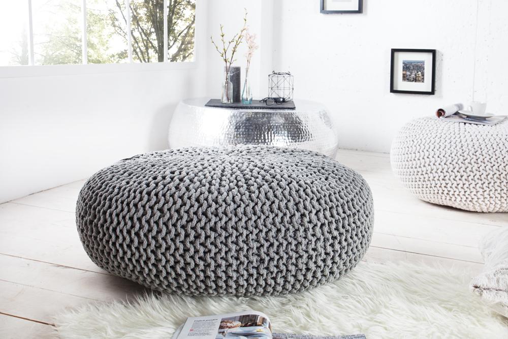Design Strick Pouf Leeds Xxl Grau 70cm Hocker Baumwolle In