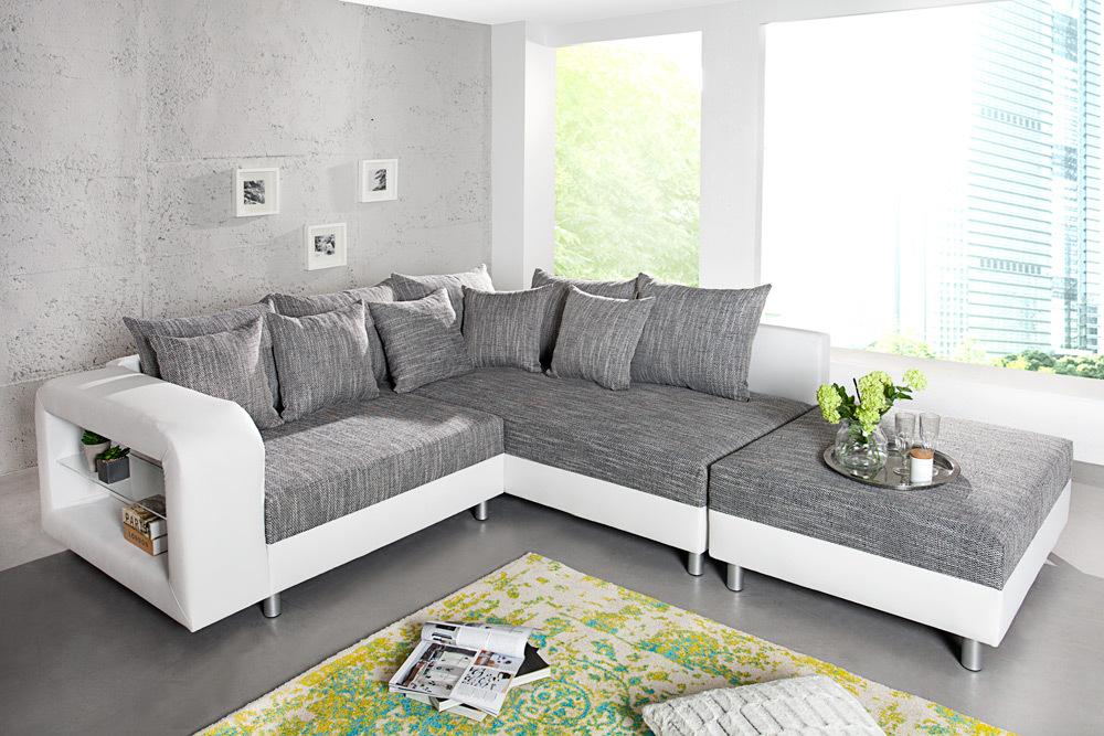 design ecksofa liberty mit hocker wei strukturstoff grau mit ablagefach aus glas ot rechts. Black Bedroom Furniture Sets. Home Design Ideas