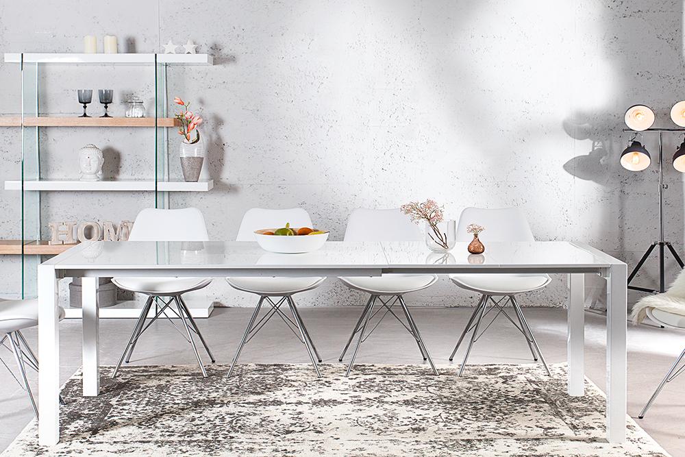 Ausziehbarer design esstisch x7 wei hochglanz 140 215 cm for Design esstisch 140