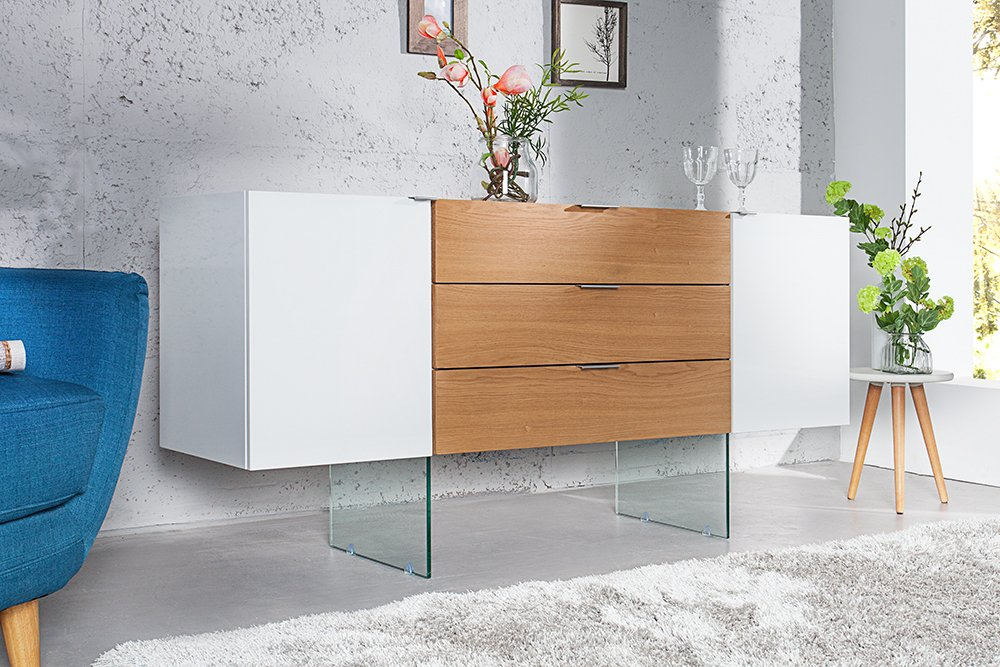 design sideboard onyx wei hochglanz glas eiche 160cm riess. Black Bedroom Furniture Sets. Home Design Ideas