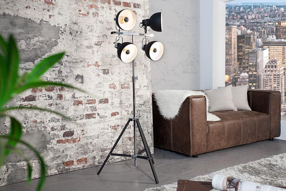 design stehleuchte light spot schwarz h henverstellbar stehlampe riess. Black Bedroom Furniture Sets. Home Design Ideas