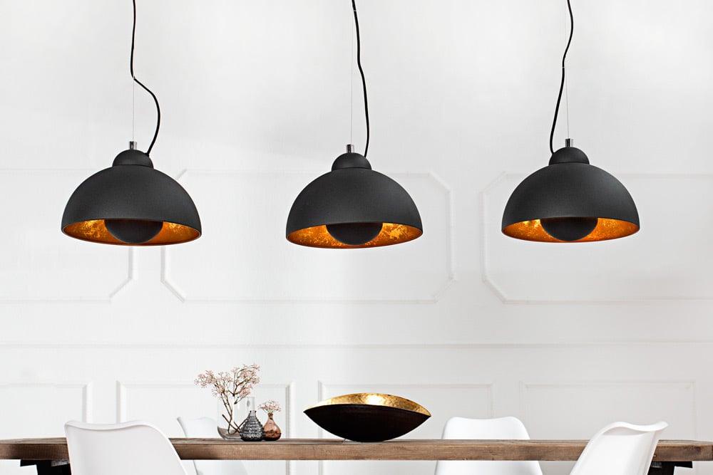 design h ngeleuchte studio 3 schwarz gold retro stil h henverstellbar riess. Black Bedroom Furniture Sets. Home Design Ideas