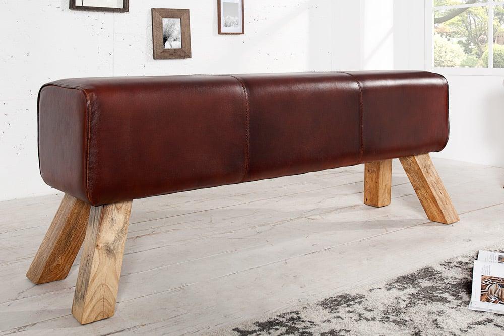 Design Sitzbank Turnbock Mit Echtleder Bezug 120cm Kult Schulsport