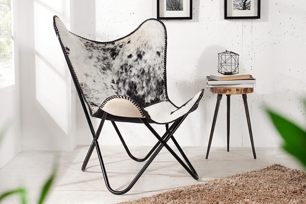Designklassiker Lounge Sessel BUTTERFLY Echtfell Schwarz Weiß Eisengestell
