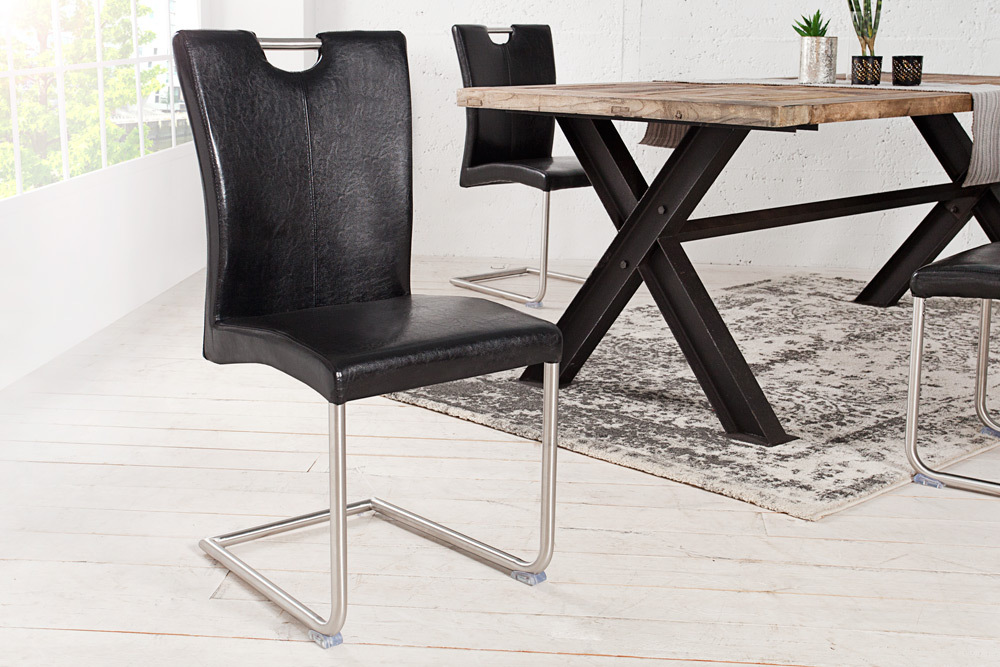 freischwinger stuhl buffalo antik schwarz mit edelstahlgestell riess. Black Bedroom Furniture Sets. Home Design Ideas