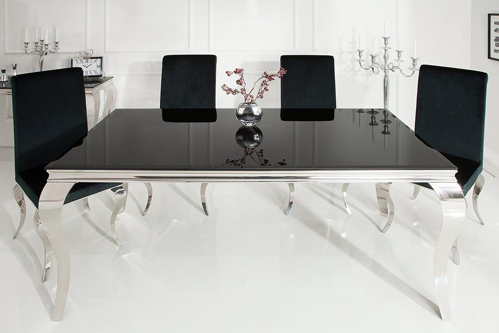 Elegante Design Esstisch Modern Barock 180cm Schwarz Edelstahl