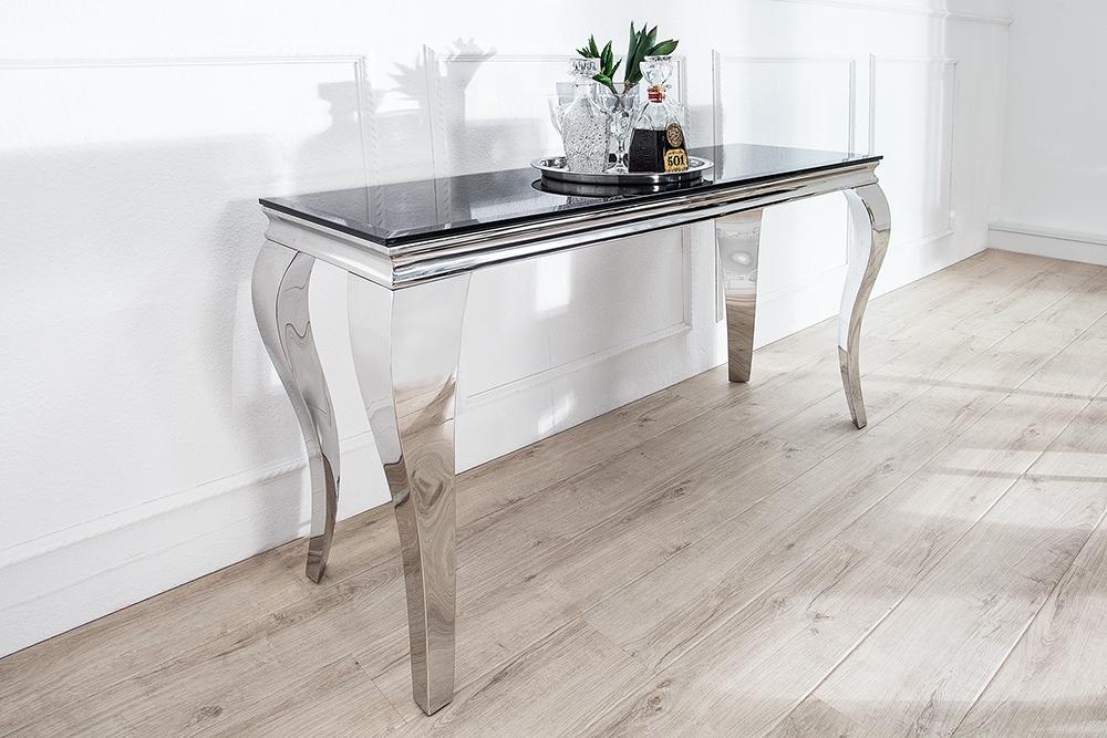 monumentaler konsolentisch modern barock silber 140 cm tischbeine aus poliertem edelstahl mit. Black Bedroom Furniture Sets. Home Design Ideas