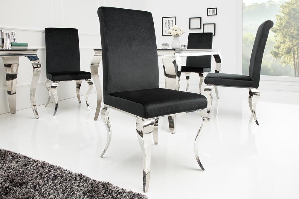 Monumentaler stuhl modern barock schwarz stuhlbeine aus edelstahl