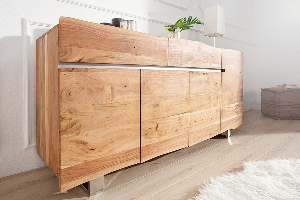 massives baumstamm sideboard mammut 170cm akazie massivholz industrial chic kufengestell aus. Black Bedroom Furniture Sets. Home Design Ideas