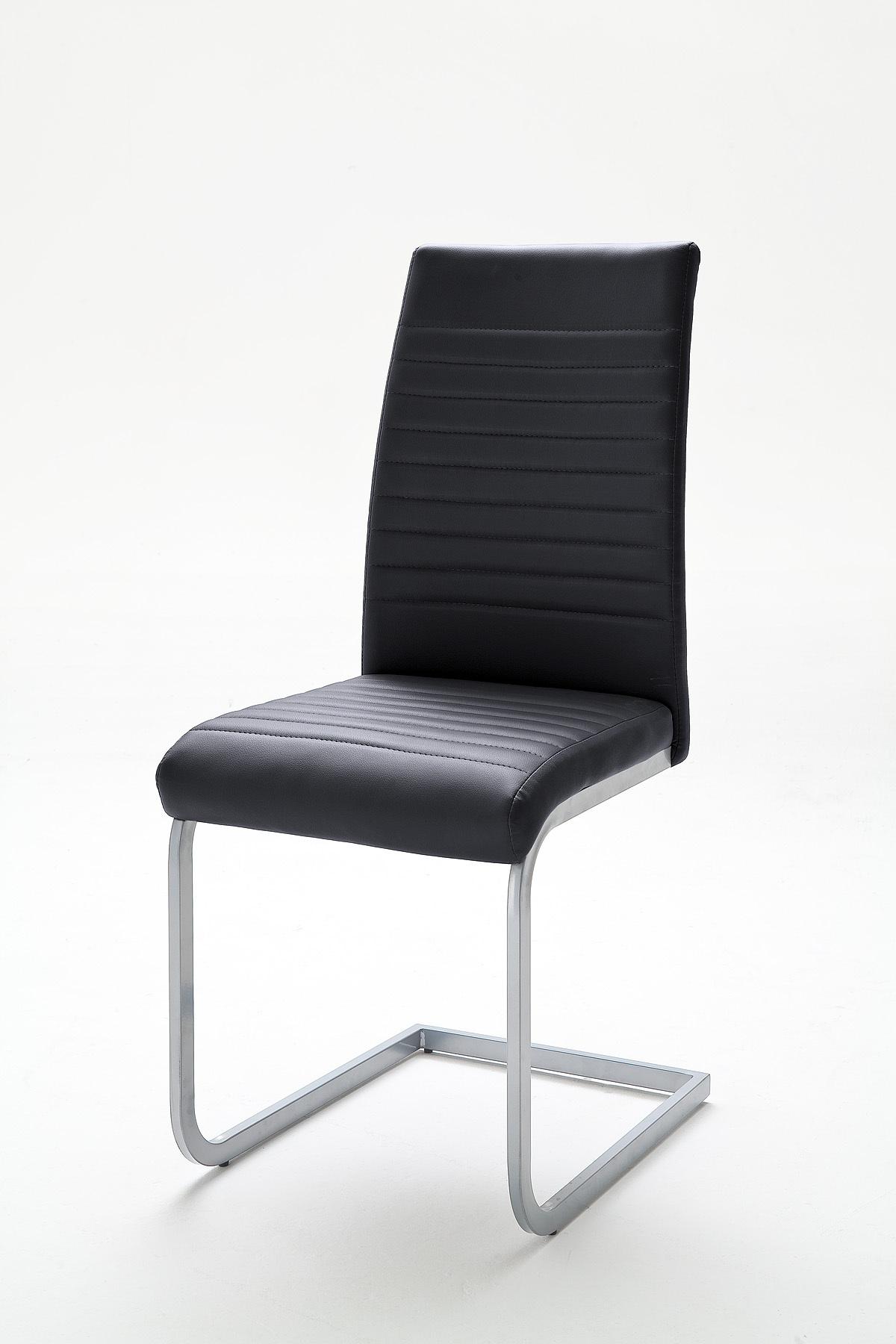 moderner freischwinger stuhl derby schwarz hochwertig verchromtes stuhlgestell riess ambiente. Black Bedroom Furniture Sets. Home Design Ideas
