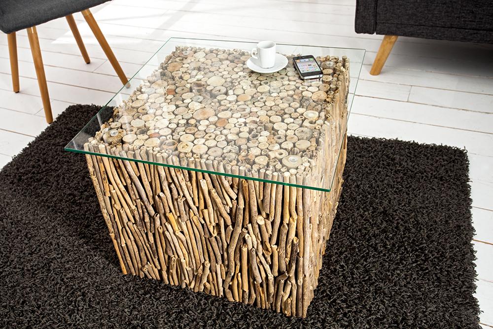 exklusiver treibholz couchtisch fossil teak elemente in handarbeit gefertigt mit glasplatte. Black Bedroom Furniture Sets. Home Design Ideas