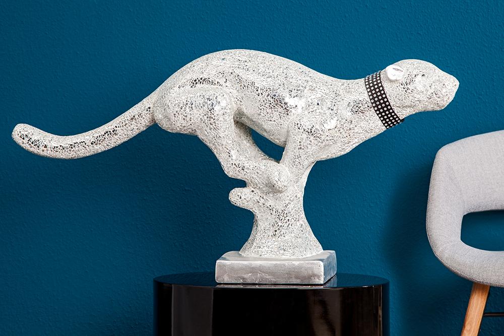 Hochwertige skulptur white panther 90 cm wei glas mosaik for Hochwertige tischlampen