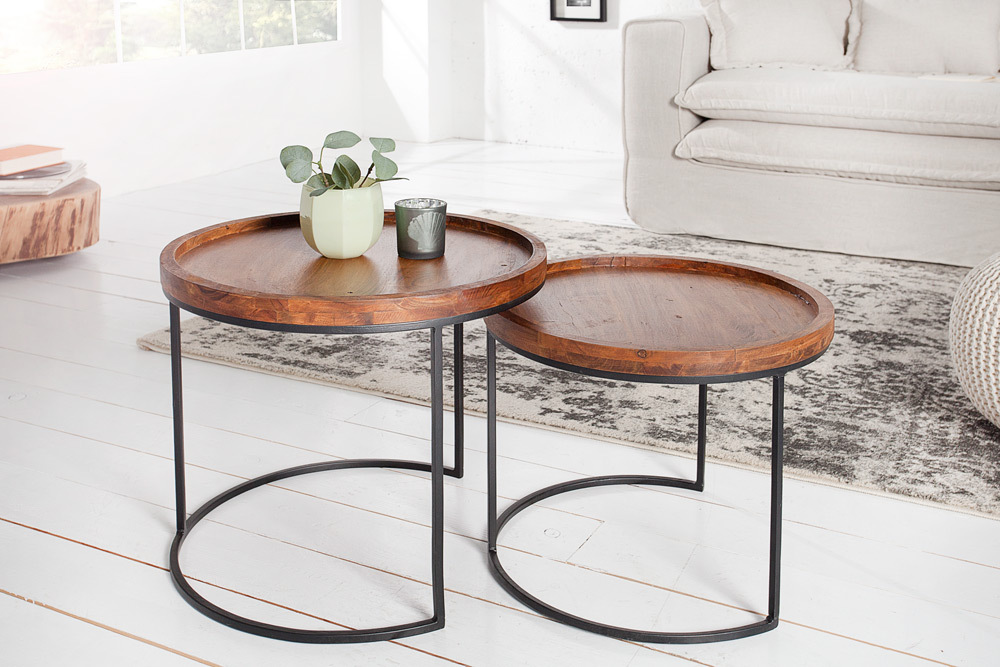 moderne beistelltische blend 2er set original massives. Black Bedroom Furniture Sets. Home Design Ideas