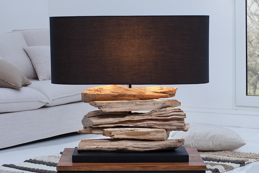 design treibholz lampe riverine tischleuchte mit schwarzem schirm handarbeit riess. Black Bedroom Furniture Sets. Home Design Ideas