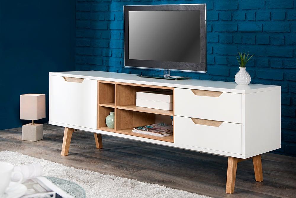 design lowboard nordic 150cm edelmatt wei echt eiche tv board riess. Black Bedroom Furniture Sets. Home Design Ideas