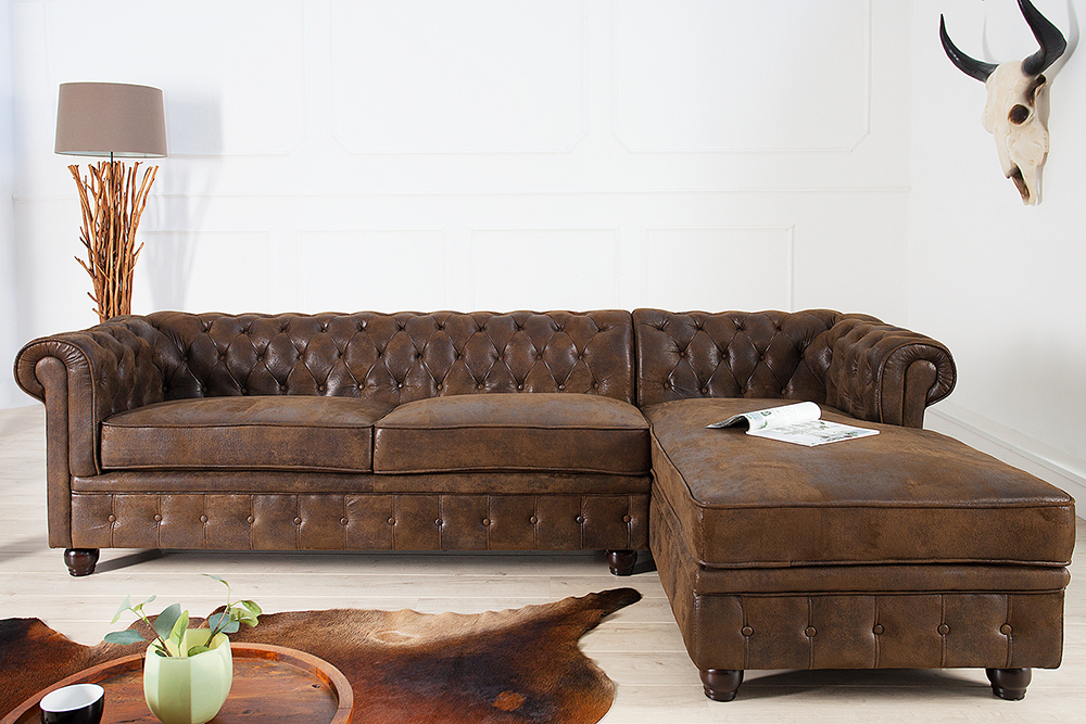 edles chesterfield ecksofa im antik look ot rechts eckcouch sofas braun riess. Black Bedroom Furniture Sets. Home Design Ideas