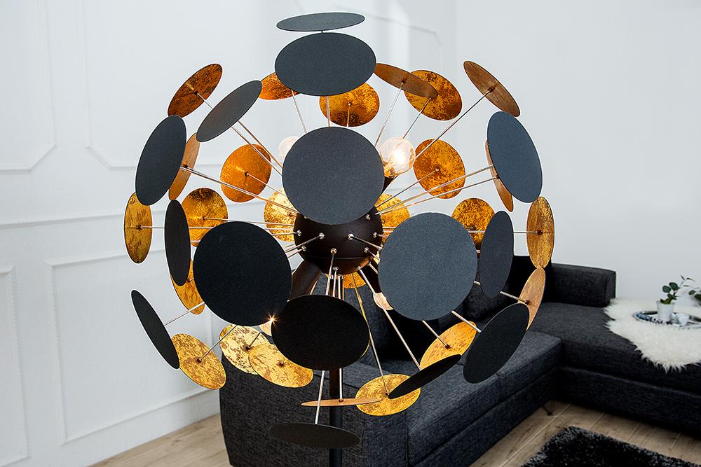 design stehleuchte infinity 170 cm schwarz gold riess. Black Bedroom Furniture Sets. Home Design Ideas