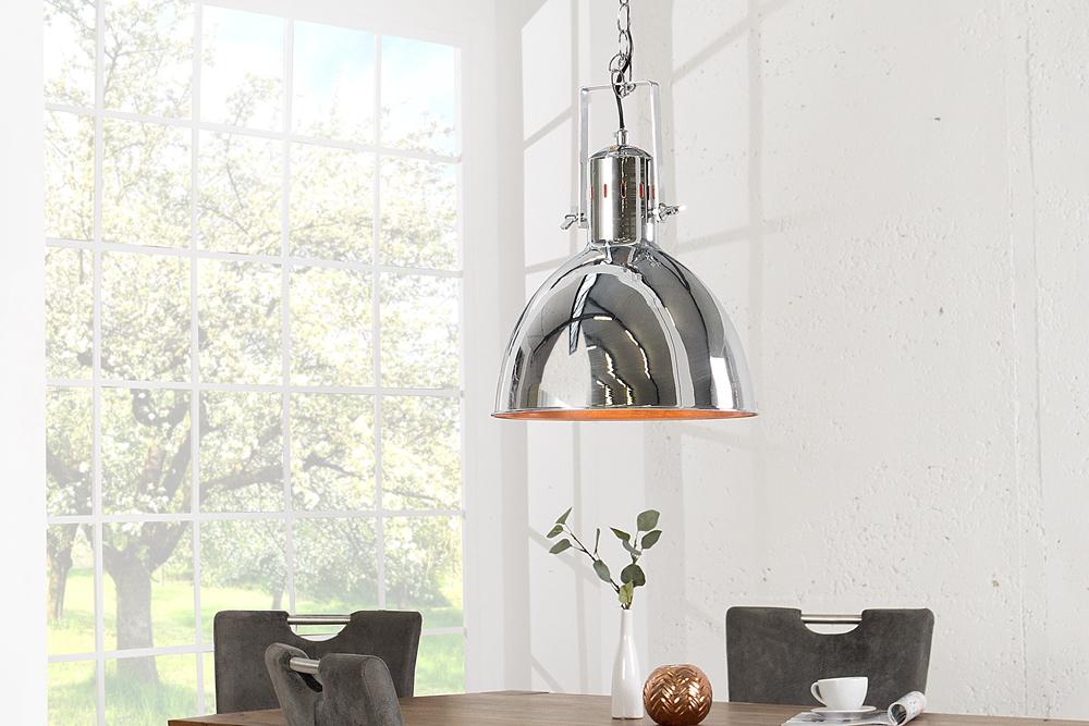 design h ngelampe factory ii chrom 40 cm industrielampe designklassiker riess. Black Bedroom Furniture Sets. Home Design Ideas