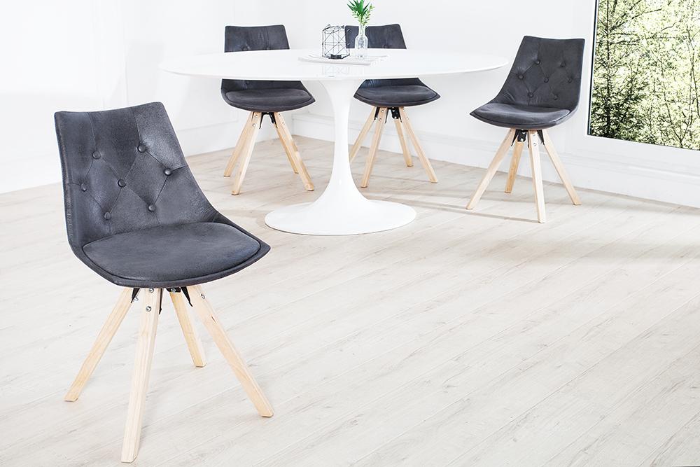 Exklusiver design stuhl very british im edlen antik grau for Design stuhl bequem