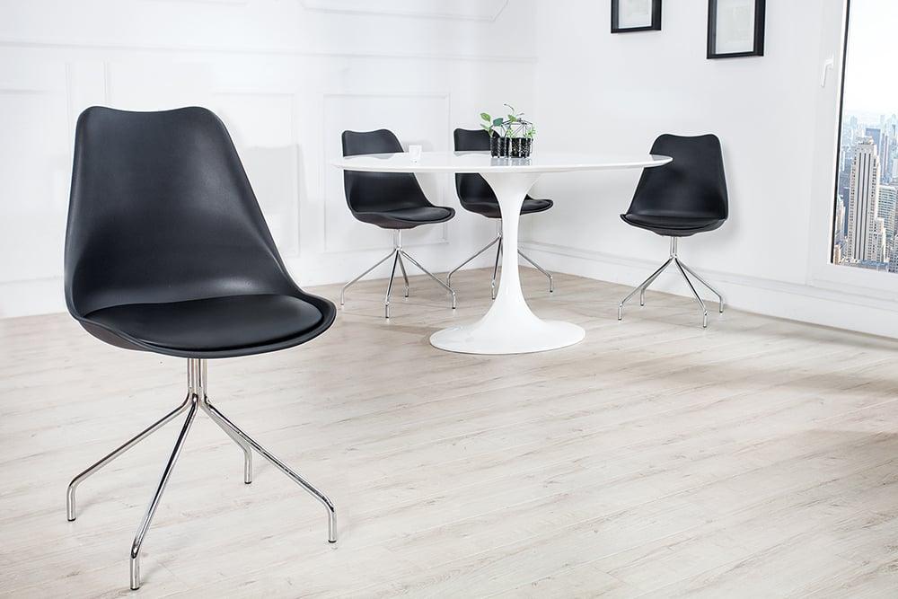 zeitloser design stuhl spider schwarz mit hochwertig verchromten stuhlgestell designklassiker. Black Bedroom Furniture Sets. Home Design Ideas