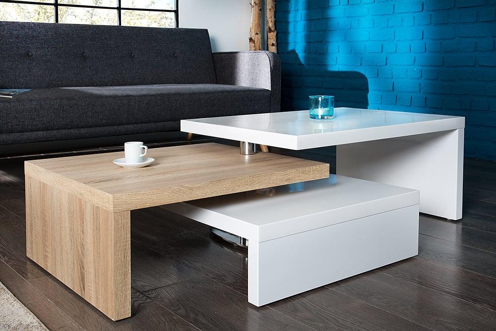 Funktioneller Design Couchtisch Highclass 80cm Hochglanz Weiß Sonoma