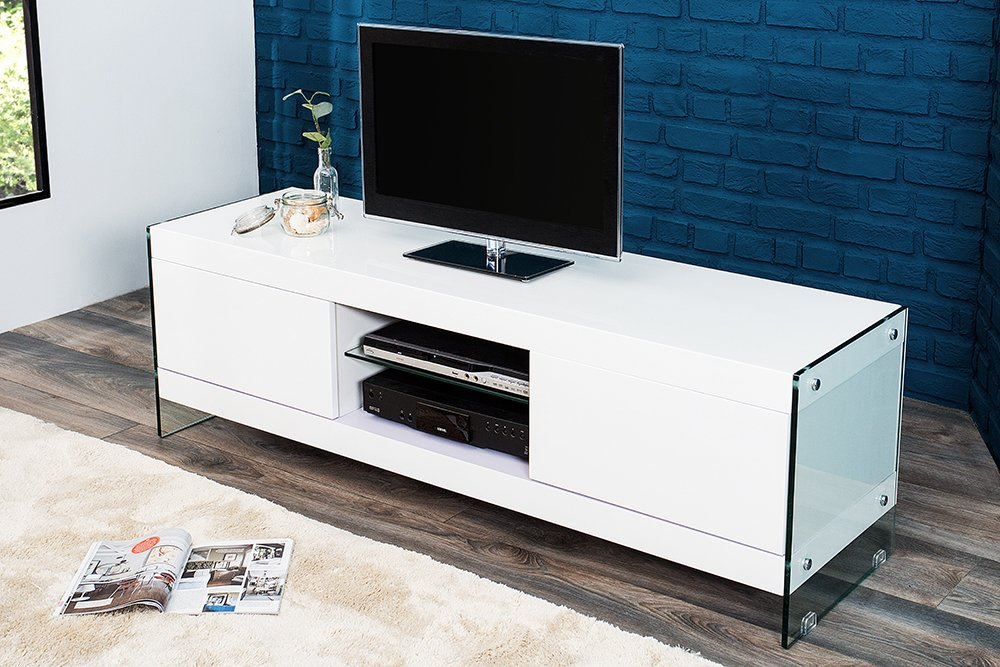 design lowboard floating wei hochglanz glas komposition tv board riess. Black Bedroom Furniture Sets. Home Design Ideas