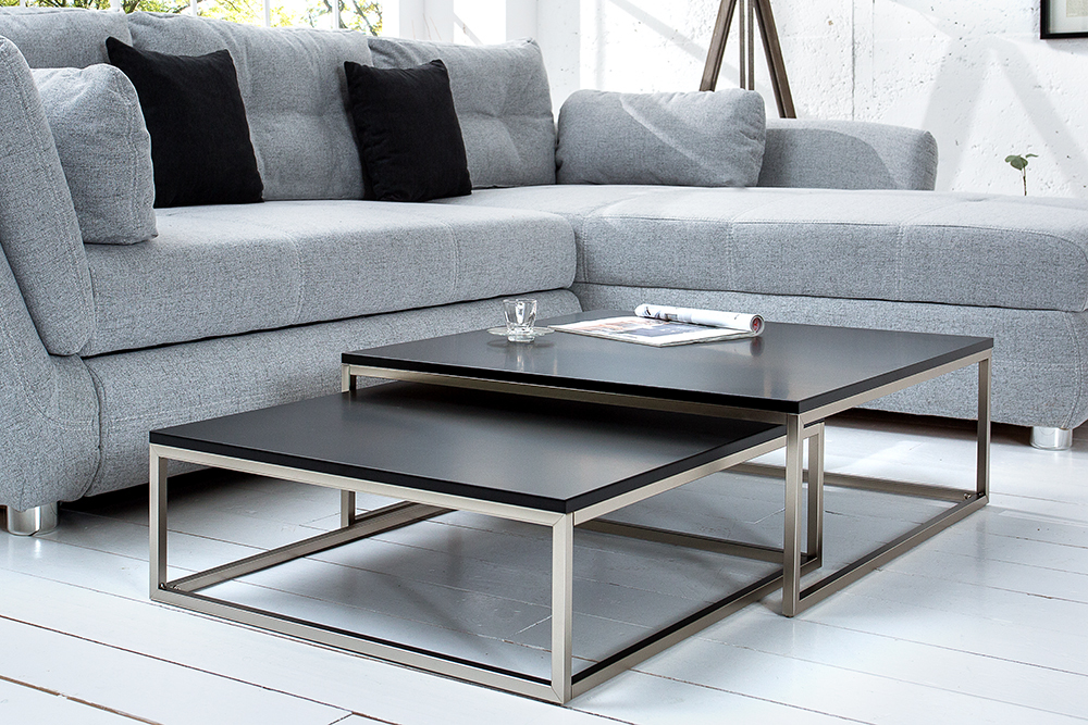 Design couchtisch 2er set big fusion matt schwarz for Design couchtisch district