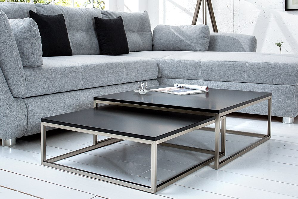 Design couchtisch 2er set big fusion matt schwarz for Couchtisch york set one