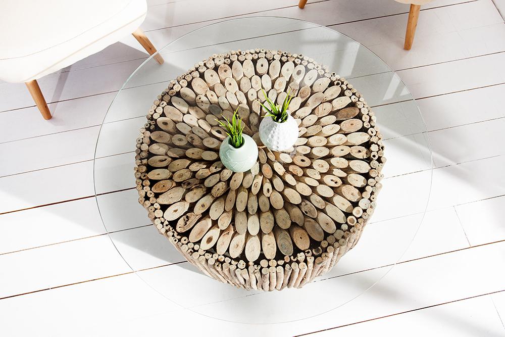 Außergewöhnlicher Treibholz Couchtisch NATURES ART 80cm In Aufwendiger  Handarbeit Gefertigt
