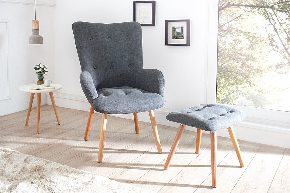 Design Sessel SCANDINAVIA Grau Inkl. Hocker Retro Look