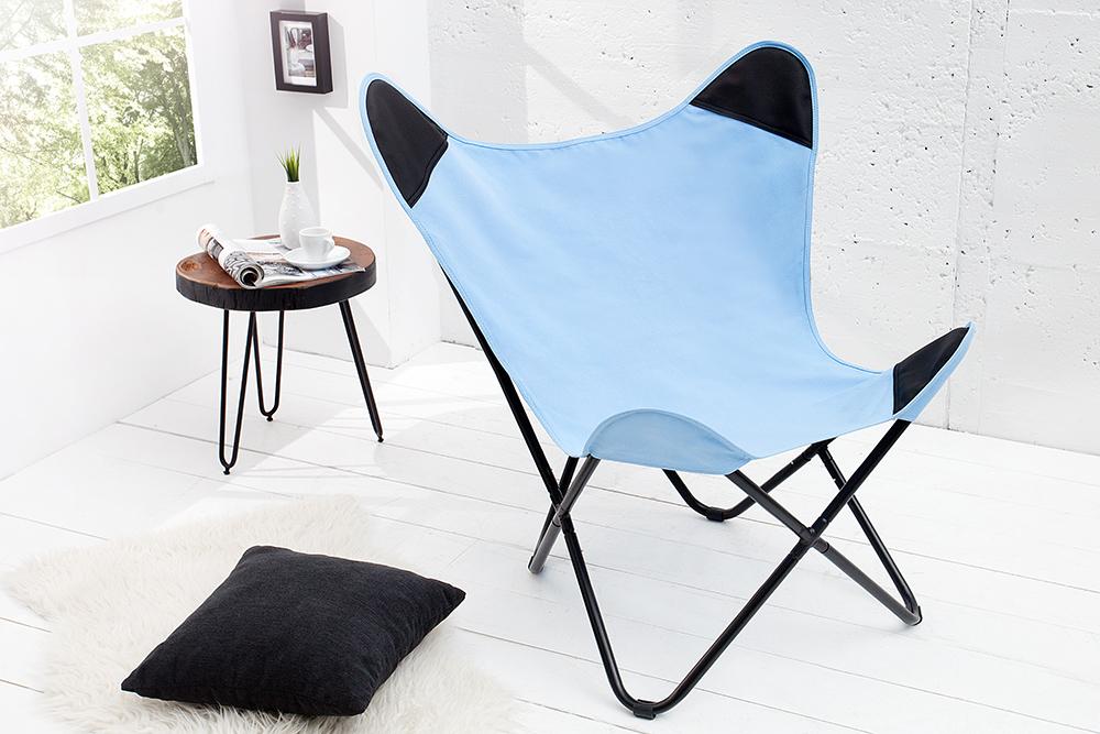 designklassiker lounge sessel butterfly blau aus hochwertigem canvas leinenstoff riess. Black Bedroom Furniture Sets. Home Design Ideas
