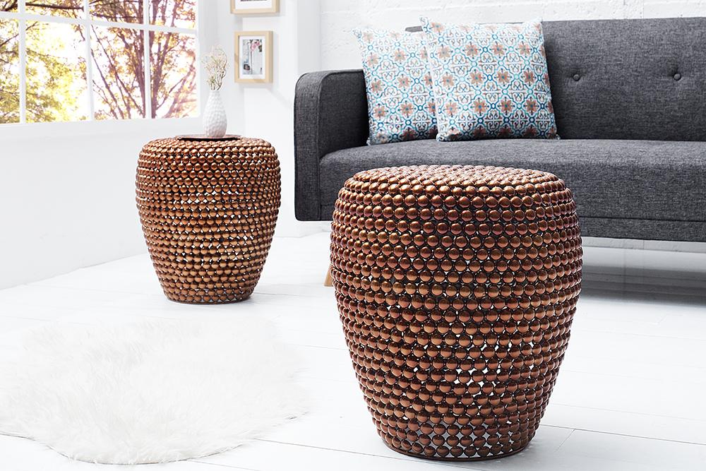 stilvoller beistelltisch pearls 50 cm kupfer ethno stil hocker riess. Black Bedroom Furniture Sets. Home Design Ideas