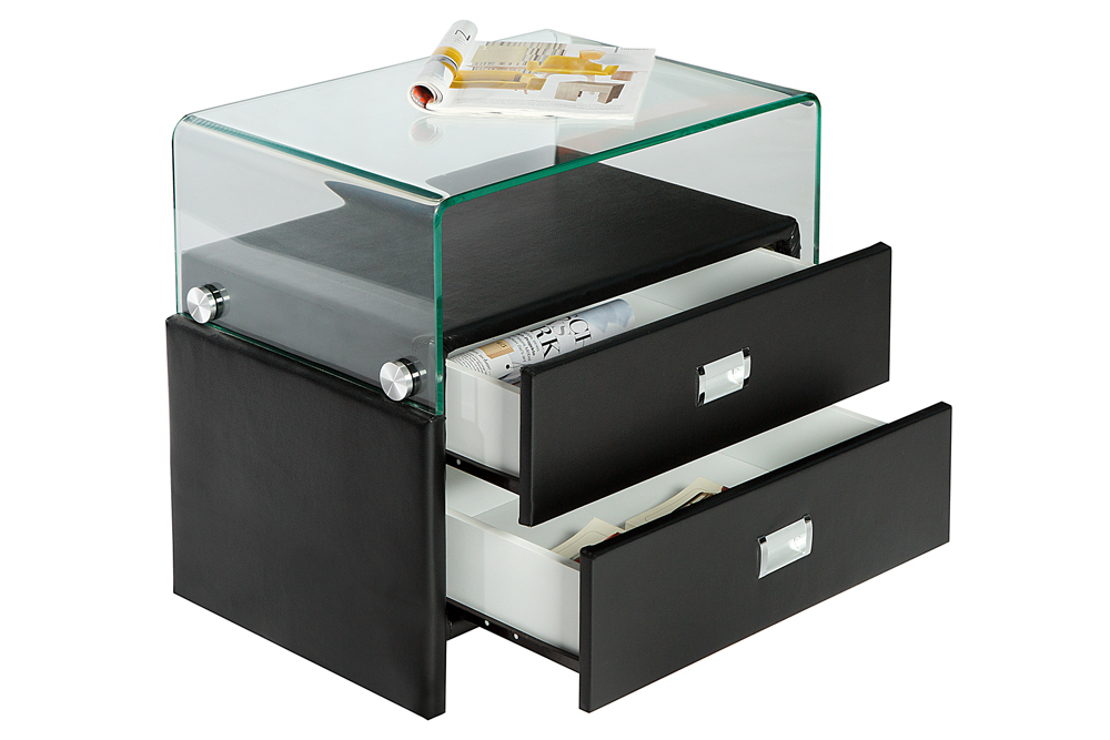 exklusiver nachtschrank manhattan schwarz 55 cm mit glasaufsatz f r boxspringbetten riess. Black Bedroom Furniture Sets. Home Design Ideas