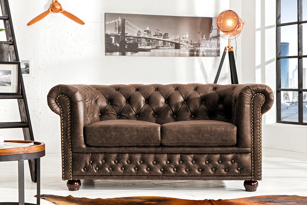 hochwertiges chesterfield sofa 2 sitzer vintage braun echtes sattelleder riess. Black Bedroom Furniture Sets. Home Design Ideas