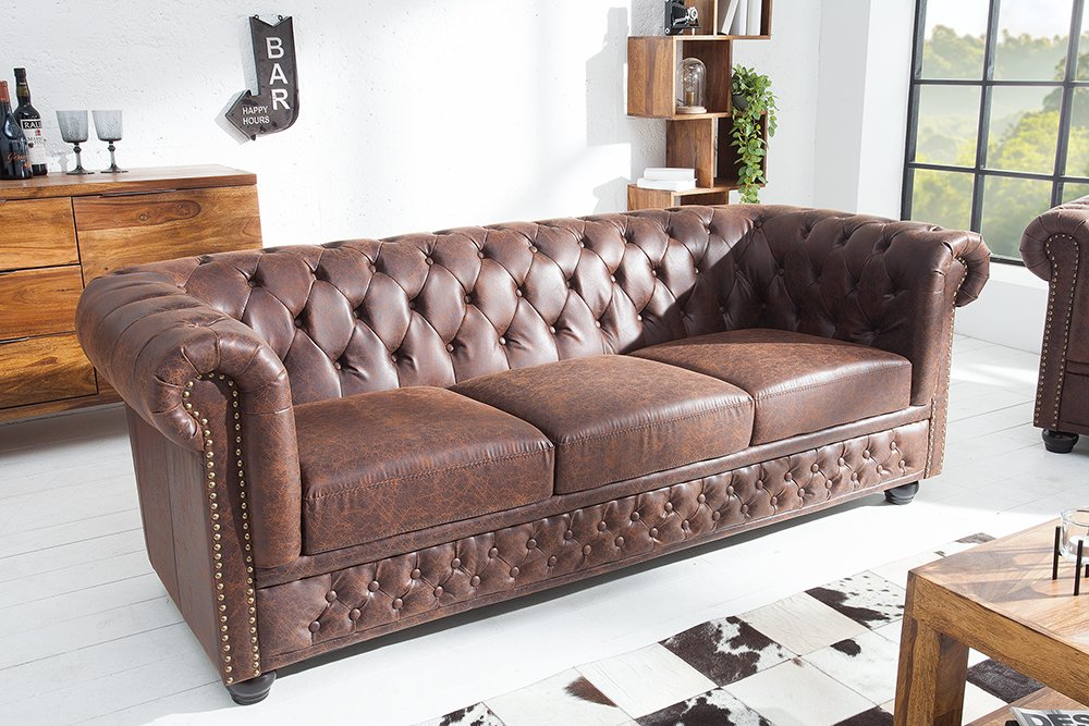 hochwertiges chesterfield sofa 3 sitzer vintage braun. Black Bedroom Furniture Sets. Home Design Ideas