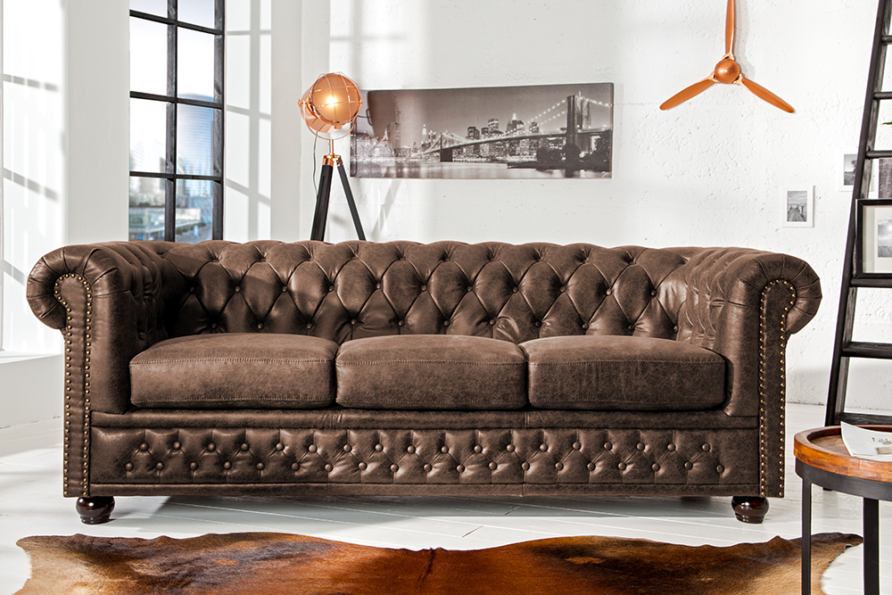 hochwertiges chesterfield sofa 3 sitzer vintage braun echtes sattelleder riess. Black Bedroom Furniture Sets. Home Design Ideas