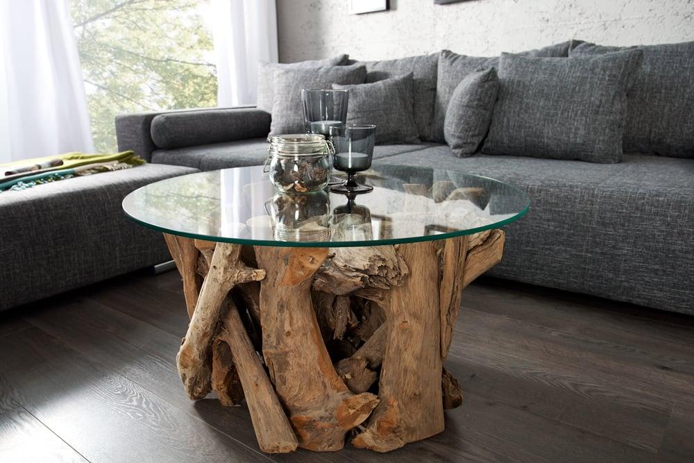 Design couchtisch nature lounge teakholz mit runder for Designer couchtisch glasplatte