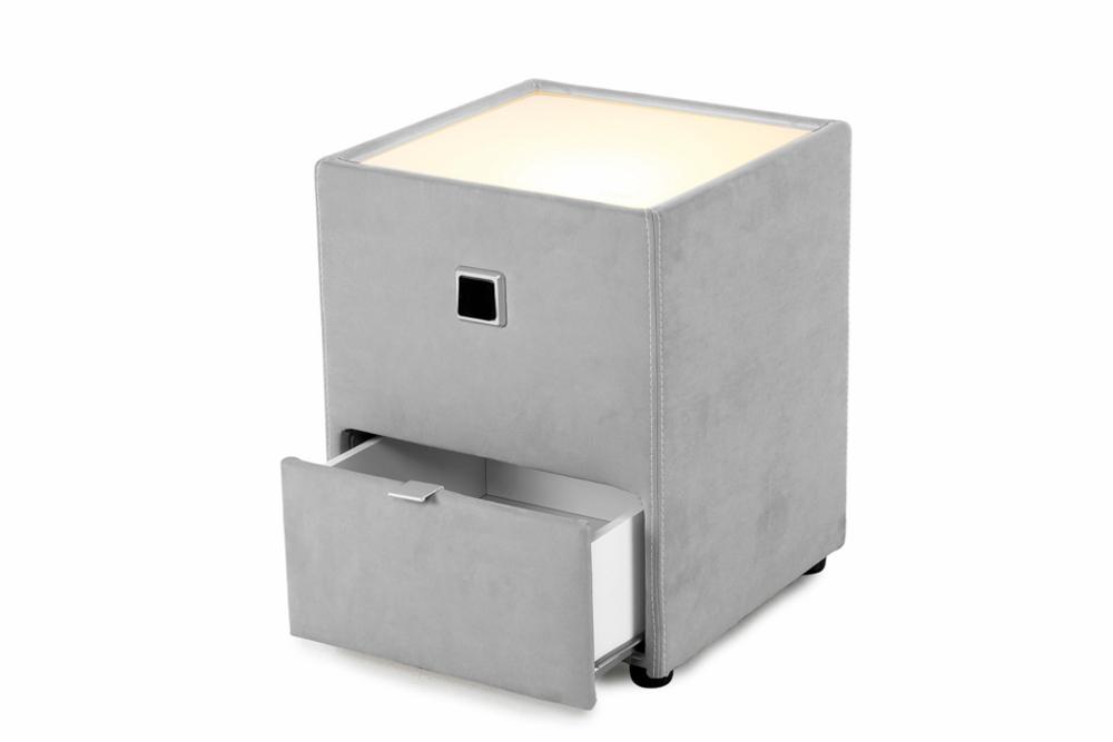 design nachtkommode capri 40cm f r boxspringbetten hellgrau mit indirekter beleuchtung riess. Black Bedroom Furniture Sets. Home Design Ideas